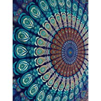 Blue Color Theme Queen Size Mandala Wall Tapestries Psychedelic Indian Tapestry Bedding Bohemian Wall Hanging Floral Print Bed Cover