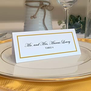 Single Line Border Printable Place Cards, Gold (Choose Color), Set of 60 (10 Sheets), Laser & Inkjet Printers - Wedding, Party, Dinner, and Special Events - Made in The USA