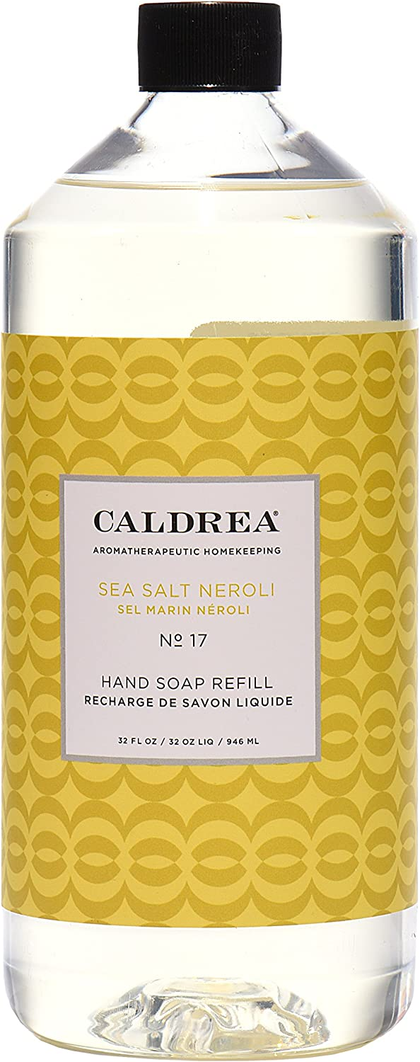 Caldrea Hand Soap Refill, Aloe Vera Gel, Olive Oil and Essential Oils to Cleanse and Condition, Sea Salt Neroli Scent, 32 oz