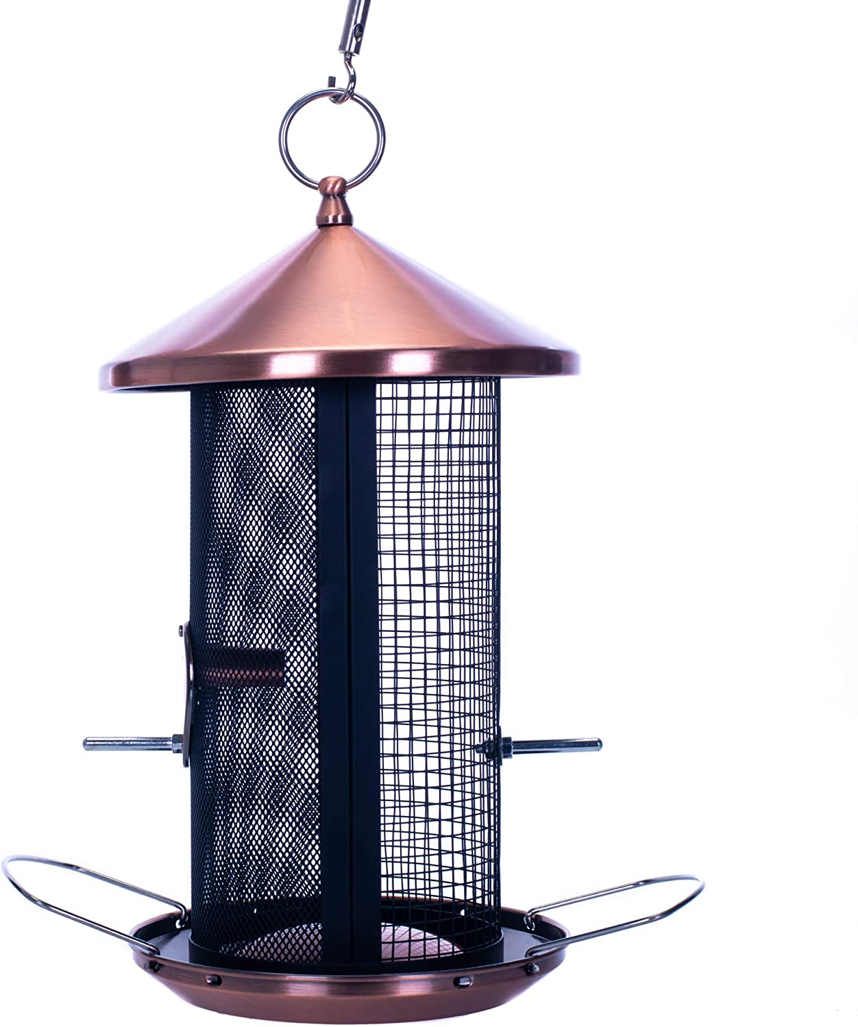 Cottage Garden 12 inch Copper Finish Heavy Duty Mesh Metal 3 Lb. Dual Nut and Seed Bird Feeder
