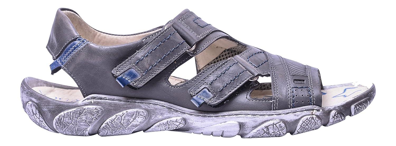 Vogar Sandalias Hombre Cuero Calzado Verano Zapatos Playa VG1122 EU 46 / 31.1 cm|Gris Azul