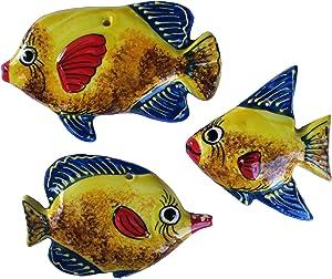 Cactus Canyon Ceramics Spanish Piranha Fish Wall Hanger, Yellow