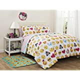 Girls Emoji Colorful Icons Queen Comforter, Sheets & Shams (7 Piece Bed In A Bag) + HOMEMADE WAX MELT