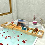 Lifewit Bathtub Caddy Tray Extendable Bamboo Shower Bath Tub Organizer, With Removable Trays, Adjustable Waterproof Reading/Tablet Stand With a Rear Cloth Cover