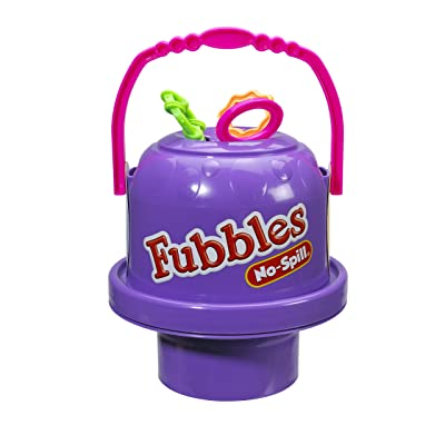 Little Kids Fubbles No-Spill Big Bubble Bucket in Purple for Multi-Child Play, Made in the USA
