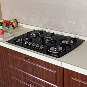 """WindMax(R) 30"""" Tempered Glass 3.3KW/h Built-in Kitchen 5 Burner Oven Gas Cooktops Stove Cook Top"""