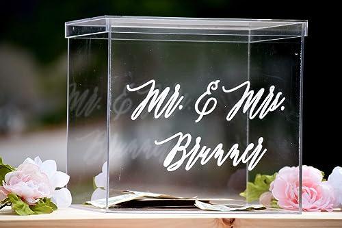 Personalized Card Box Wedding Keepsake Box Acrylic Card Box Wedding Card Box Card Box for Wedding Wedding Card Box with Slot Personalized Clear Card Box with Lid