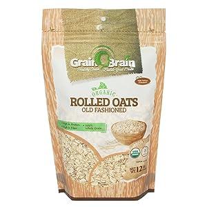 Grain Brain Organic Thick Rolled Oats (12oz) Oatmeal Breakfast Cereal