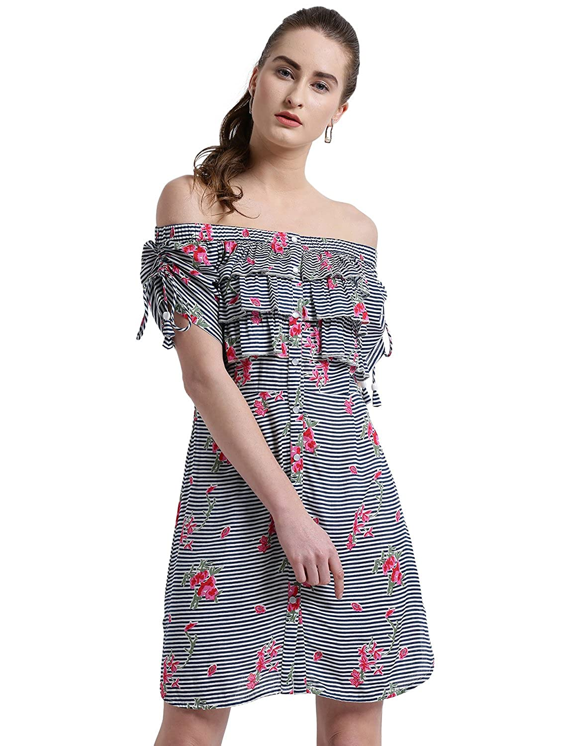 2fb8776135 TEXCO Women Off Shoulder Striped Ruched Sleeve Dress White  Amazon.in   Clothing   Accessories