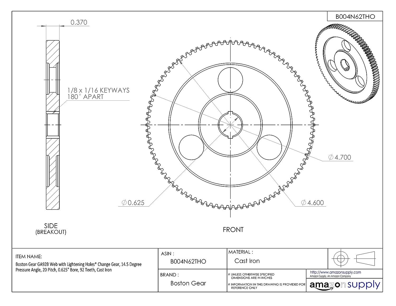 92 Teeth 0.625 Bore Cast Iron 0.625 Bore 20 Pitch Boston Gear GA92B Web with Lightening Holes Change Gear 14.5 Degree Pressure Angle