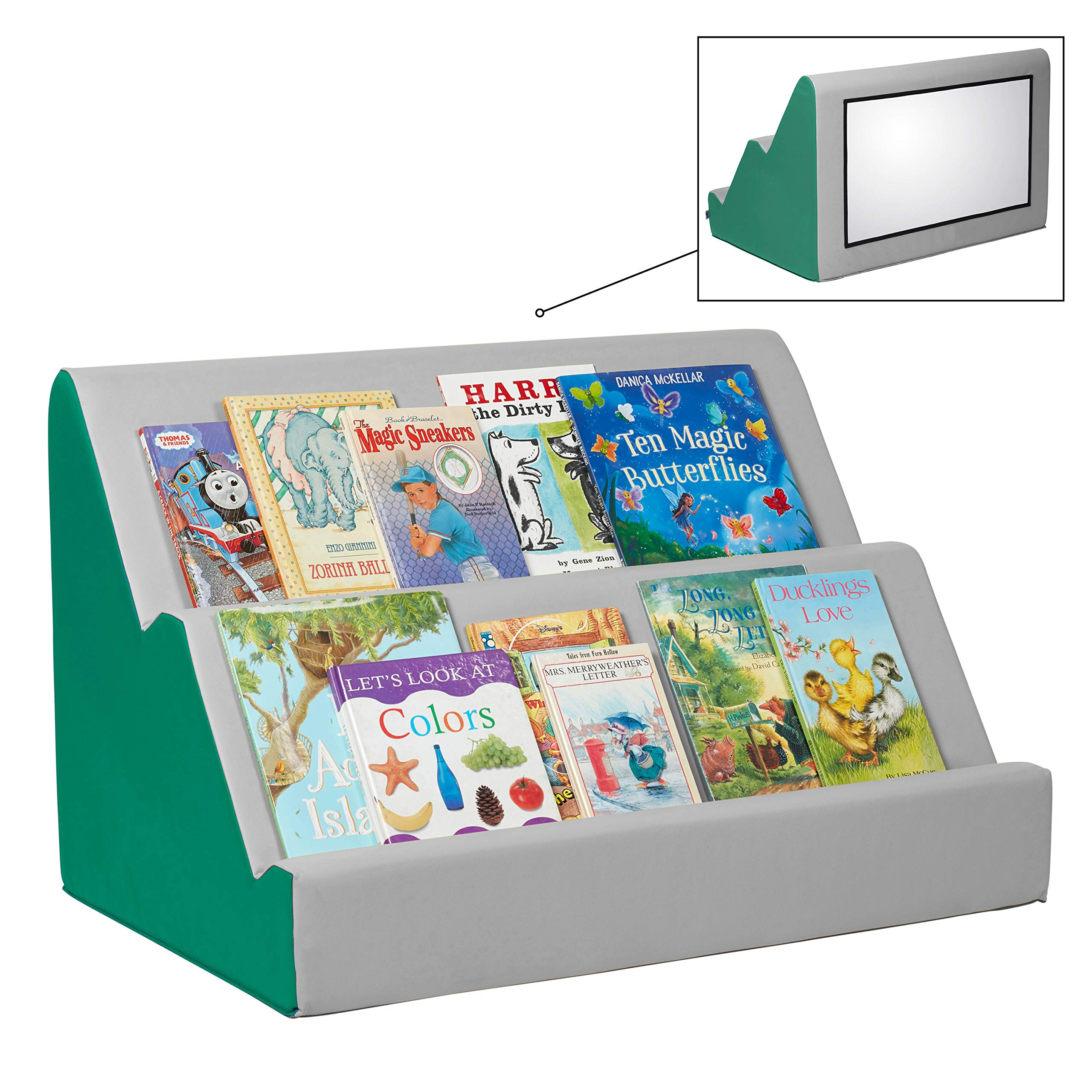 FDP SoftScape Book Buddy with Shatterproof Mirror - 2-Tier Toddler Bookshelf for Bedrooms - Preschools & Early Classrooms - Emerald/Light Gray by Factory Direct Partners
