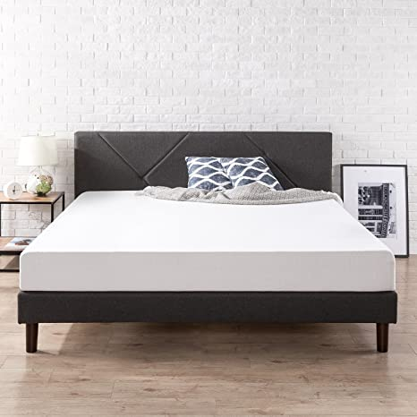 Zinus Judy Upholstered Geometric Paneled Platform Bed with Wood Slat Support, King