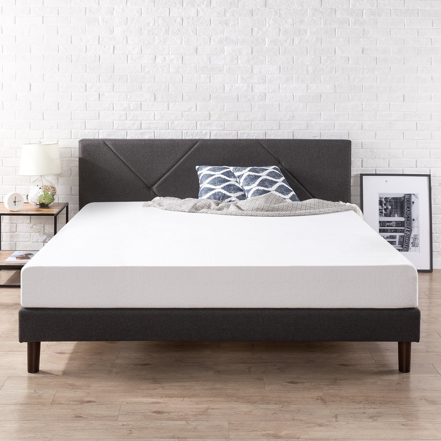 Zinus Upholstered Geometric Paneled Platform Bed / Mattress Foundation / Easy Assembly / Strong Wood Slat Support, King