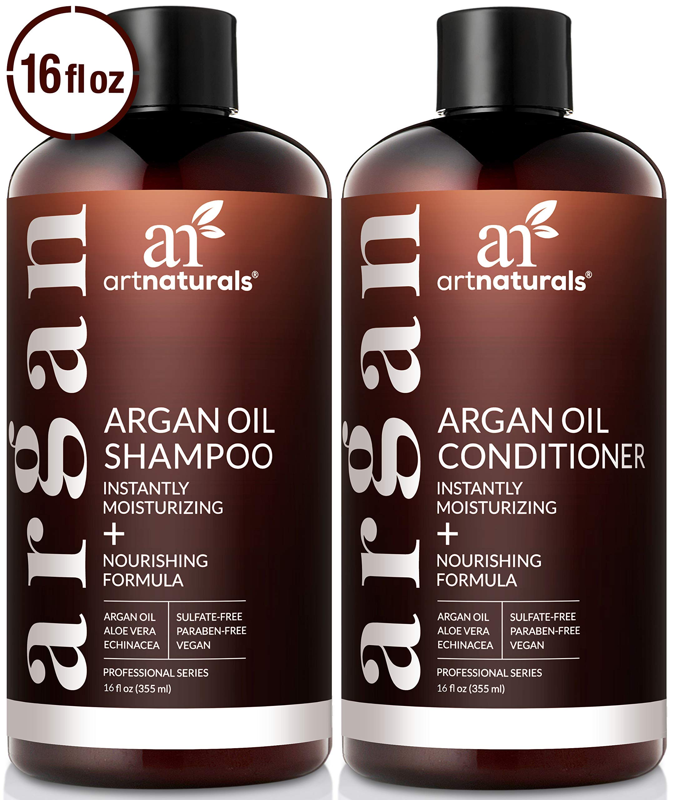 ArtNaturals Organic Moroccan Argan Oil Shampoo and Conditioner Set - (2 x 16 Fl Oz / 473ml) - Sulfate Free - Volumizing & Moisturizing - Gentle on Curly & Color Treated Hair - Infused with Keratin by ArtNaturals