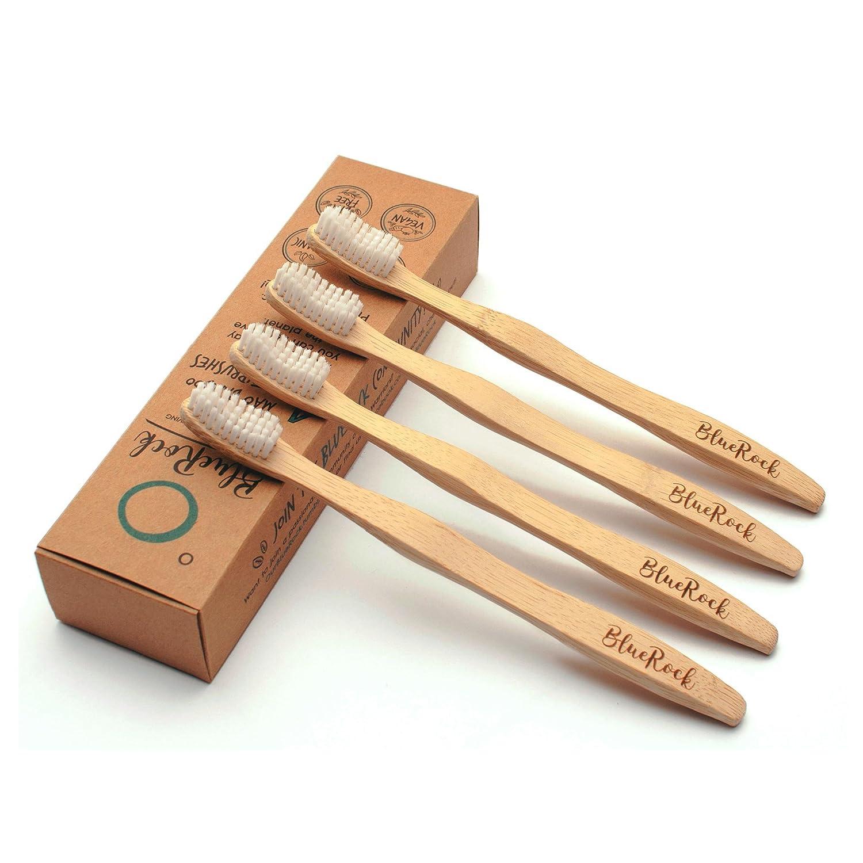[Nueva Versión] Cepillos de dientes de bambú ecológico | 4 Pack | BPA gratis | Orgánico y natural | Cepillo de dientes de madera biodegradable | Sostenible ...