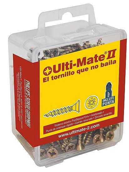 Ulti-Mate II S35050L1 Caja Grande con Tornillos de Alto Rendimiento para Madera Acabado BICROMATADO y Punta PSD de 25mm incluida de 3,5 x 50 mm, Set ...