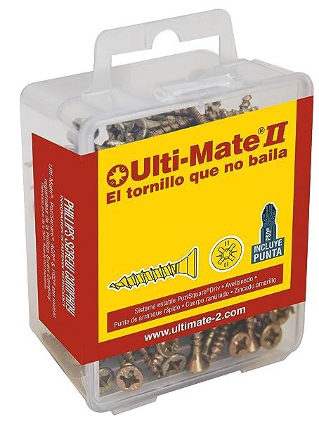 Ulti-Mate II S30020L1 Caja Grande con Tornillos de Alto Rendimiento para Madera Acabado BICROMATADO y Punta PSD de 25mm incluida de 3,0 x 20 mm, ...