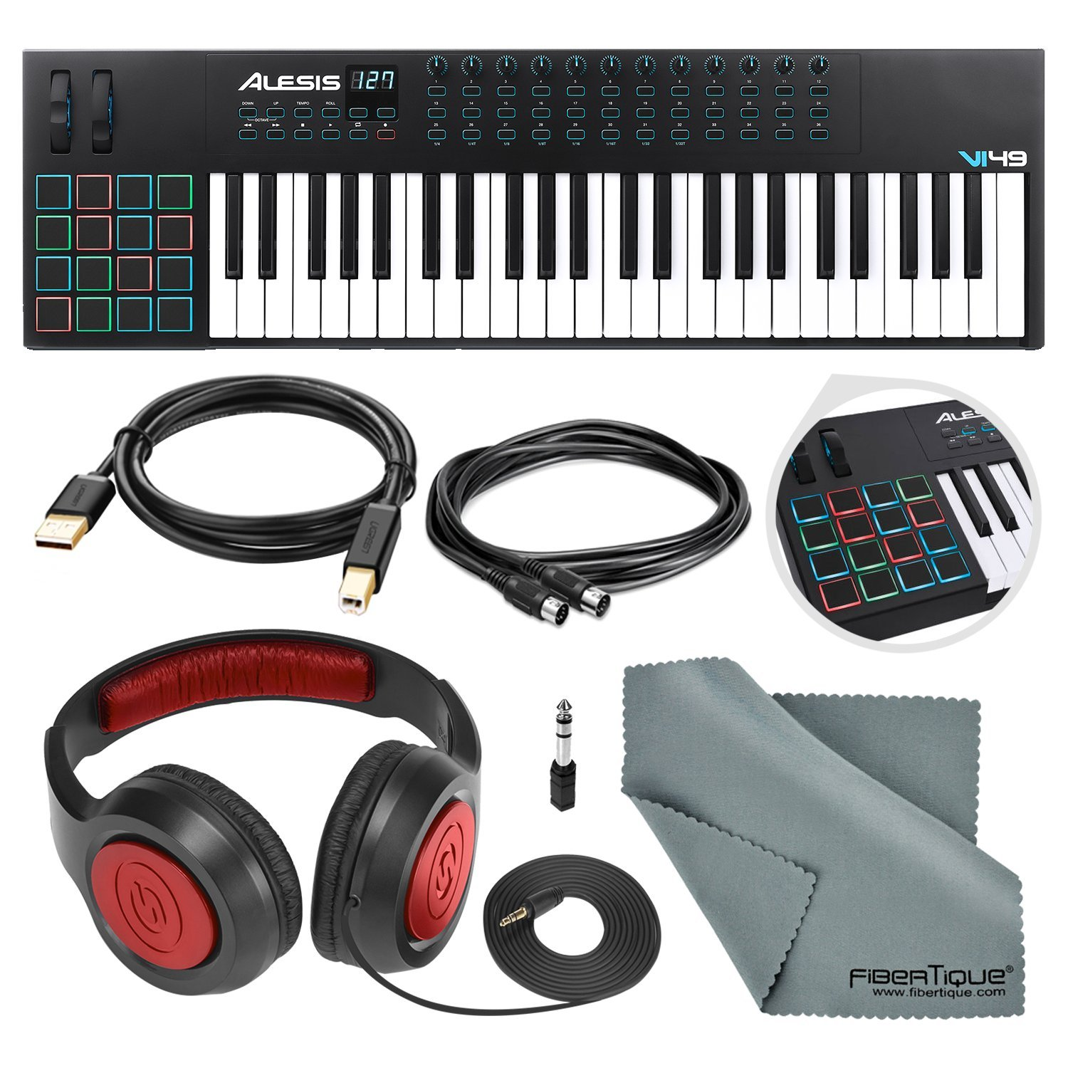 Alesis VI49 25-KeyUSB/MIDI Keyboard & Drum Pad Controller with Samson Over-Ear Headphone, Cables, and Microfiber Cloth by Alesis