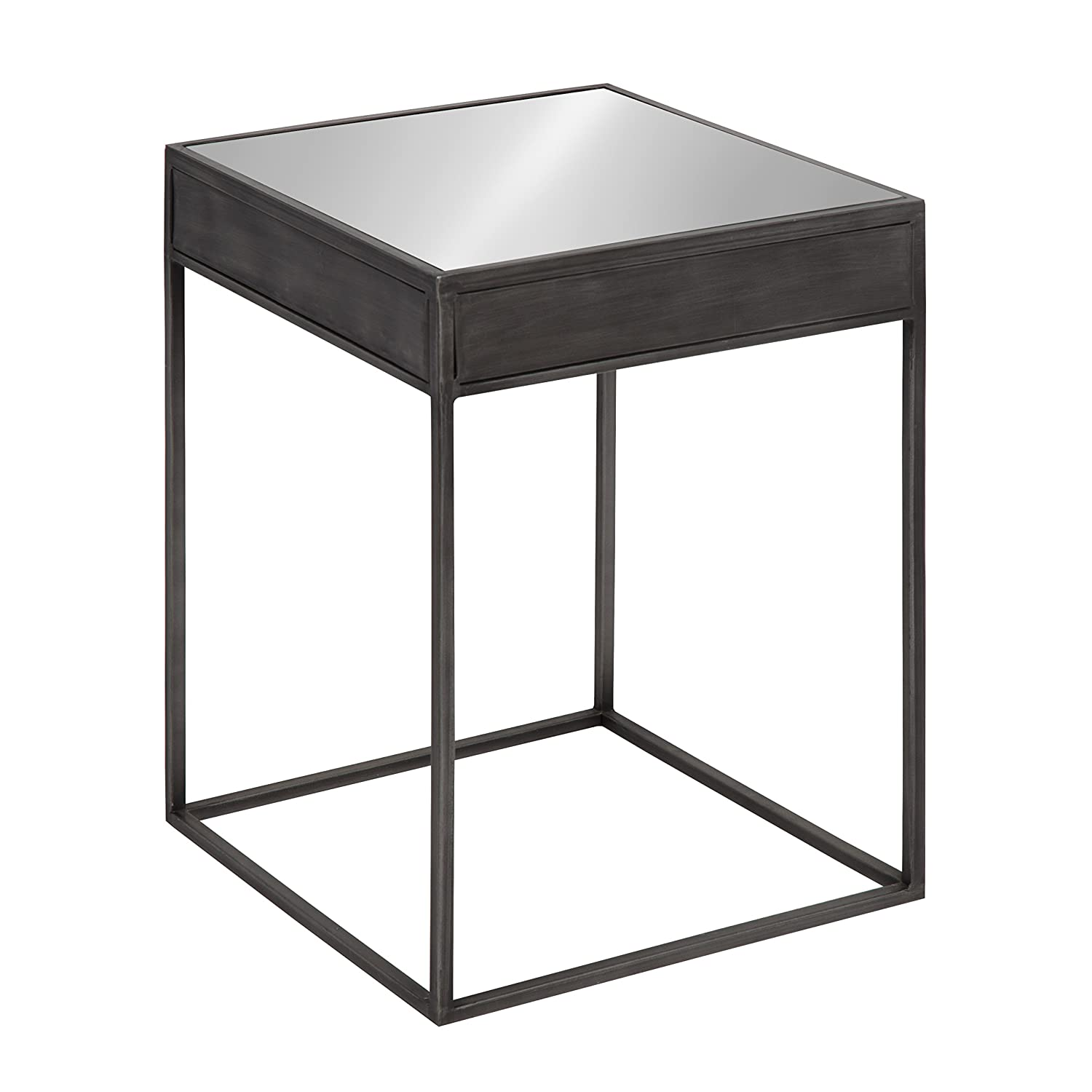 Kate and laurel aleksand industrial modern square mirror and metal accent side end table metallic gray 16 inches wide x 16 inches deep x 22 inches tall