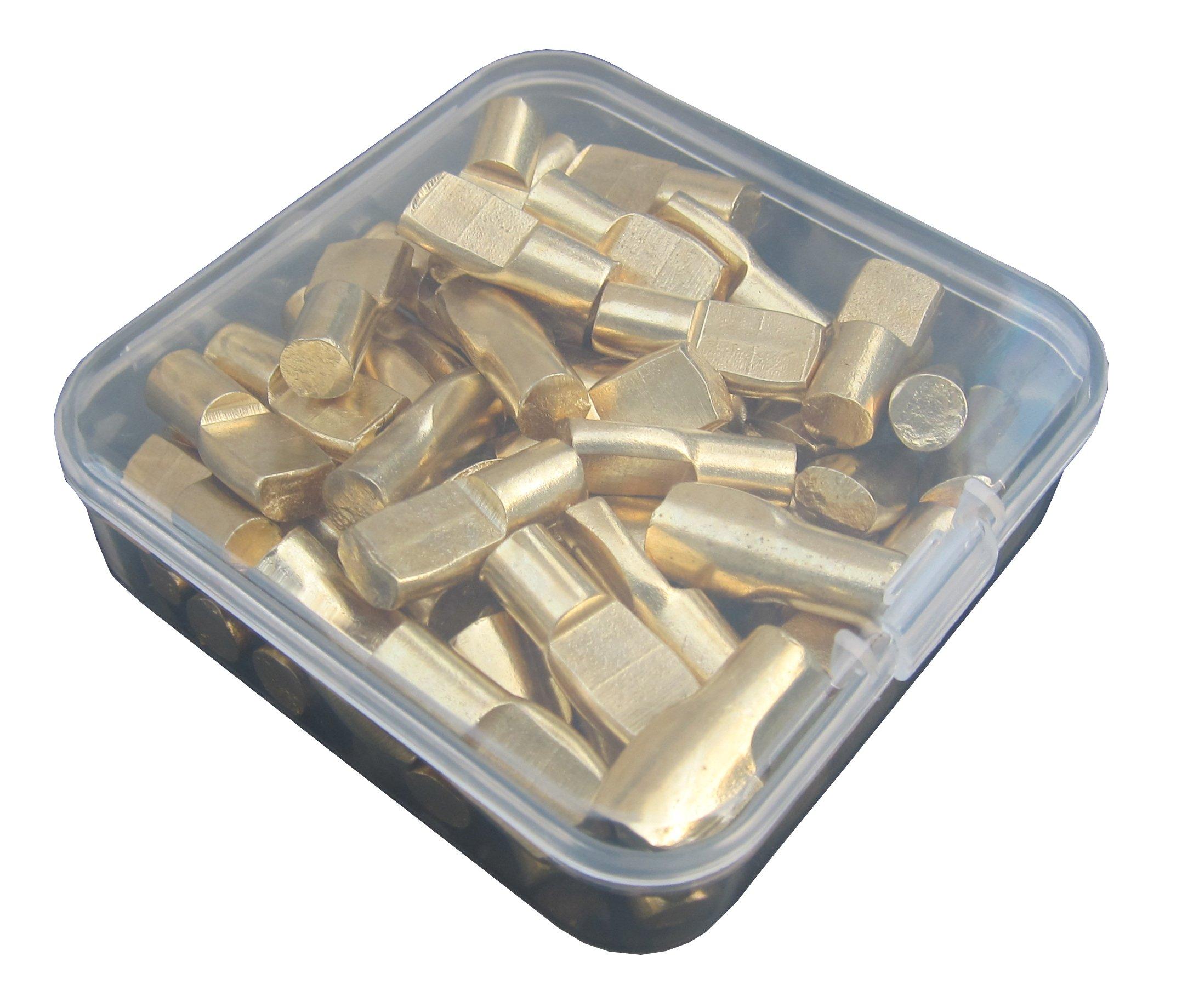 1/4-Inch Spoon Shape Shelf Rests 60Piece Set, Furniture Cabinet Closet Shelf Pegs, in Storage Box, 60-Pack (Brass)