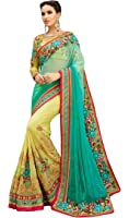 Magneitta Women's Georgette Saree With Blouse Piece (23096_Sky Blue_Free Size)