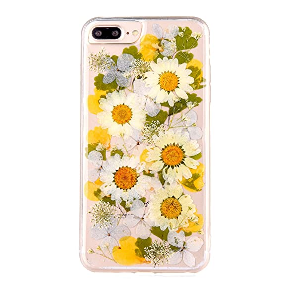 new concept e9628 6118b Real Flower Case for iPhone 7 Plus, Elegant TIPFLY Soft Silicone iPhone 8  Plus Cover with Handmade Pressed Dried Flowers, Transparent Ultra-Thin ...