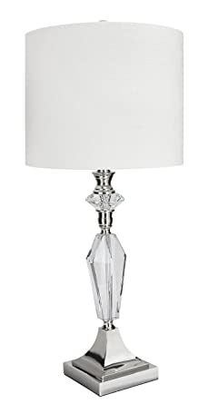 Grandview gallery 28 crystal polished nickel table lamp wwhite grandview gallery 28quot crystal polished nickel table lamp wwhite linen shade for aloadofball
