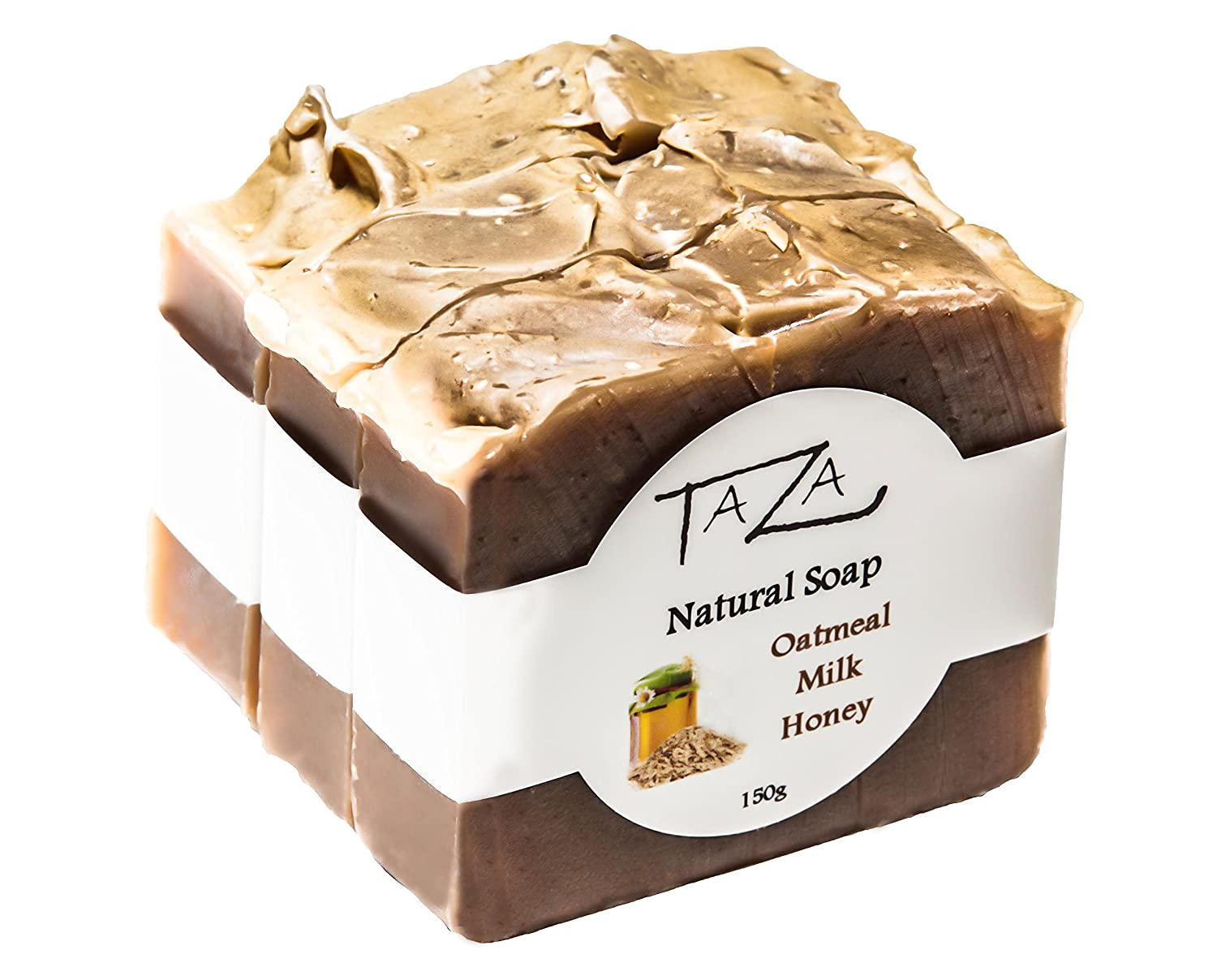 Premium Taza Oatmeal Milk & Honey Natural Soap (Pack of 3) Each 5.3 oz (150 g) ♦ Radiant Skin ♦ Contains: Coconut, Olive, and Palm Fruit Oils, Mango Seed Butter, Kaolin Clay, Oats, Honey, Goats Milk Priya Spa