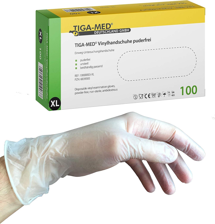Handschuhe ohne Latex Tiga-Med Vinylhandschuhe puderfrei Gr/ö/ße X-Large Einmalhandschuhe aus Vinyl 100 St/ück Einweg