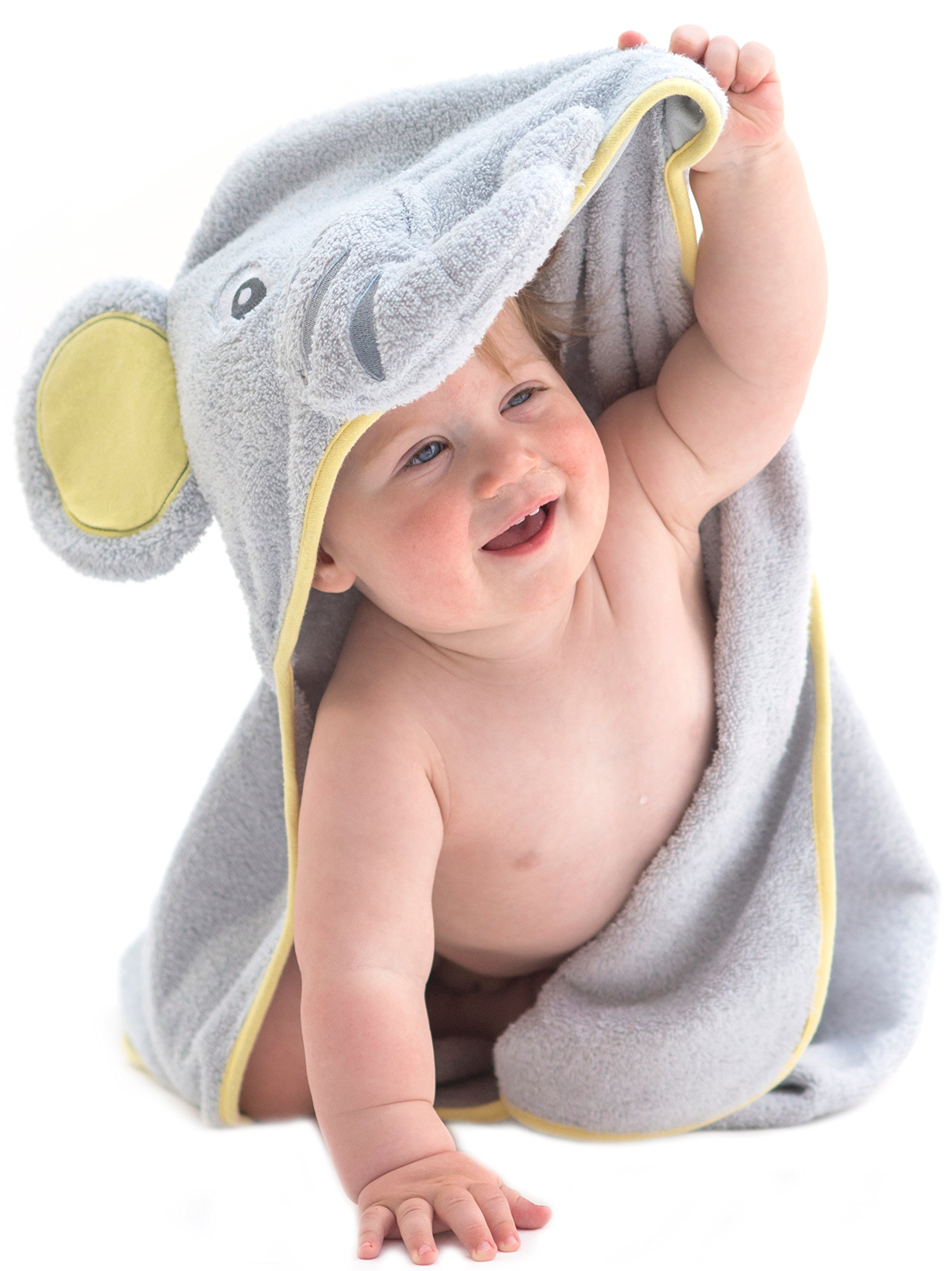 little tinkers world elephant hooded baby towel natural cotton large 646437837118 ebay. Black Bedroom Furniture Sets. Home Design Ideas