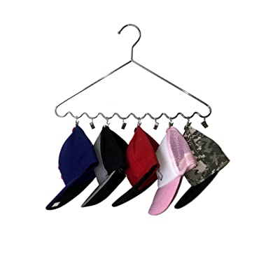 The Lakeside Collection Axis International Hat Storage Hanger 10 Cap Organizer Chromed Plated, Rust Resistant, Steel