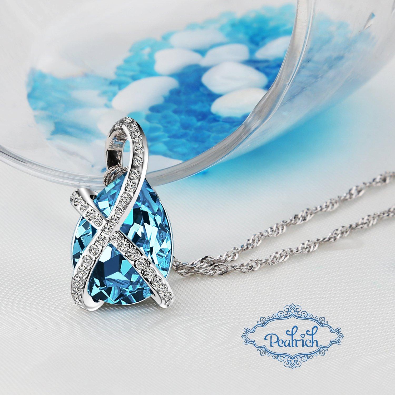 Pealrich Kristall Halskette, Damen Kette mit Swarovski Elements, Tropfen Anhänger, mit Etui Schmuck 18,5\'\' (Blau)