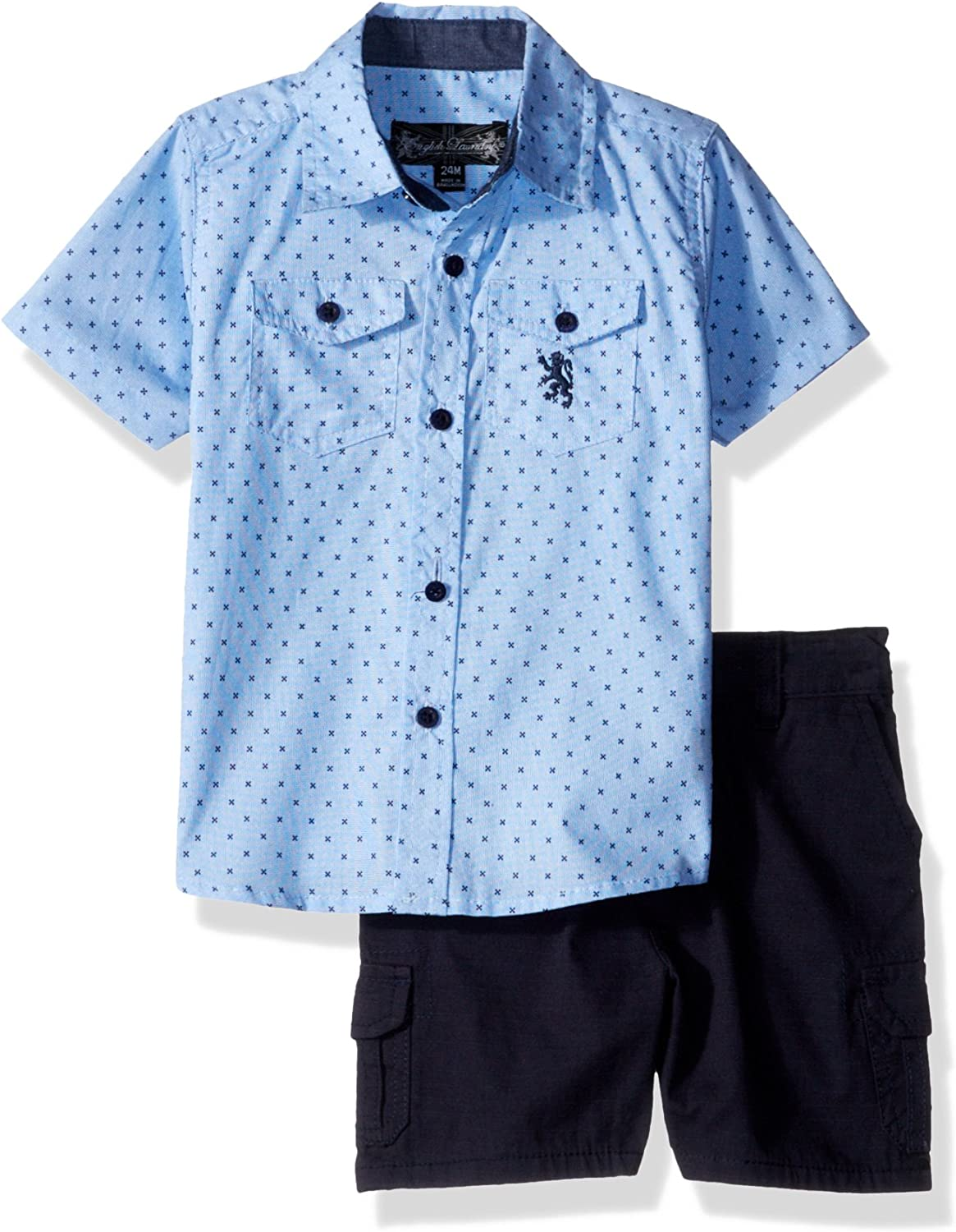 English Laundry Baby Boys Long Sleeve Two Pocket Sport Shirt and Ripstop Cargo Short
