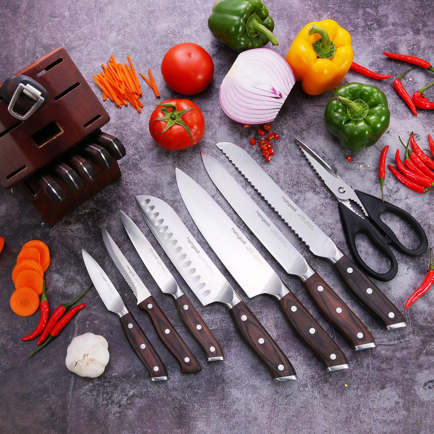 Kitchen Knife Set 15 Piece with Wooden Block Sharpener and Serrated Steak Knives, homgeek Professional High Carbon Steel Chef Knife Block Set Full-Tang Forged, German 1.4116 Steel, Pakkawood Handle by homgeek (Image #2)