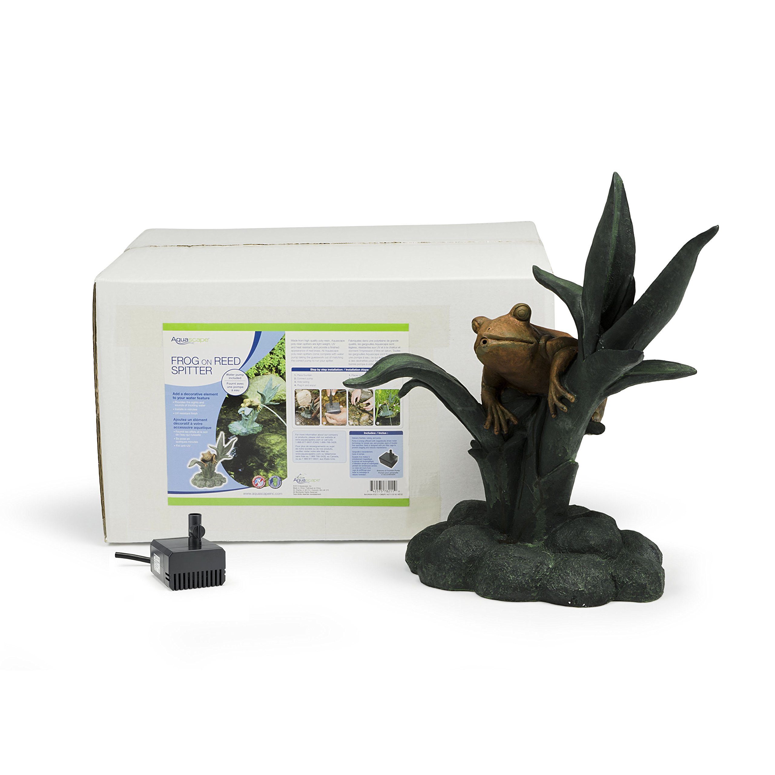 Aquascape Frog on Reed Fountain Spitter with Pump for Pond, Garden and Water Features | 78211