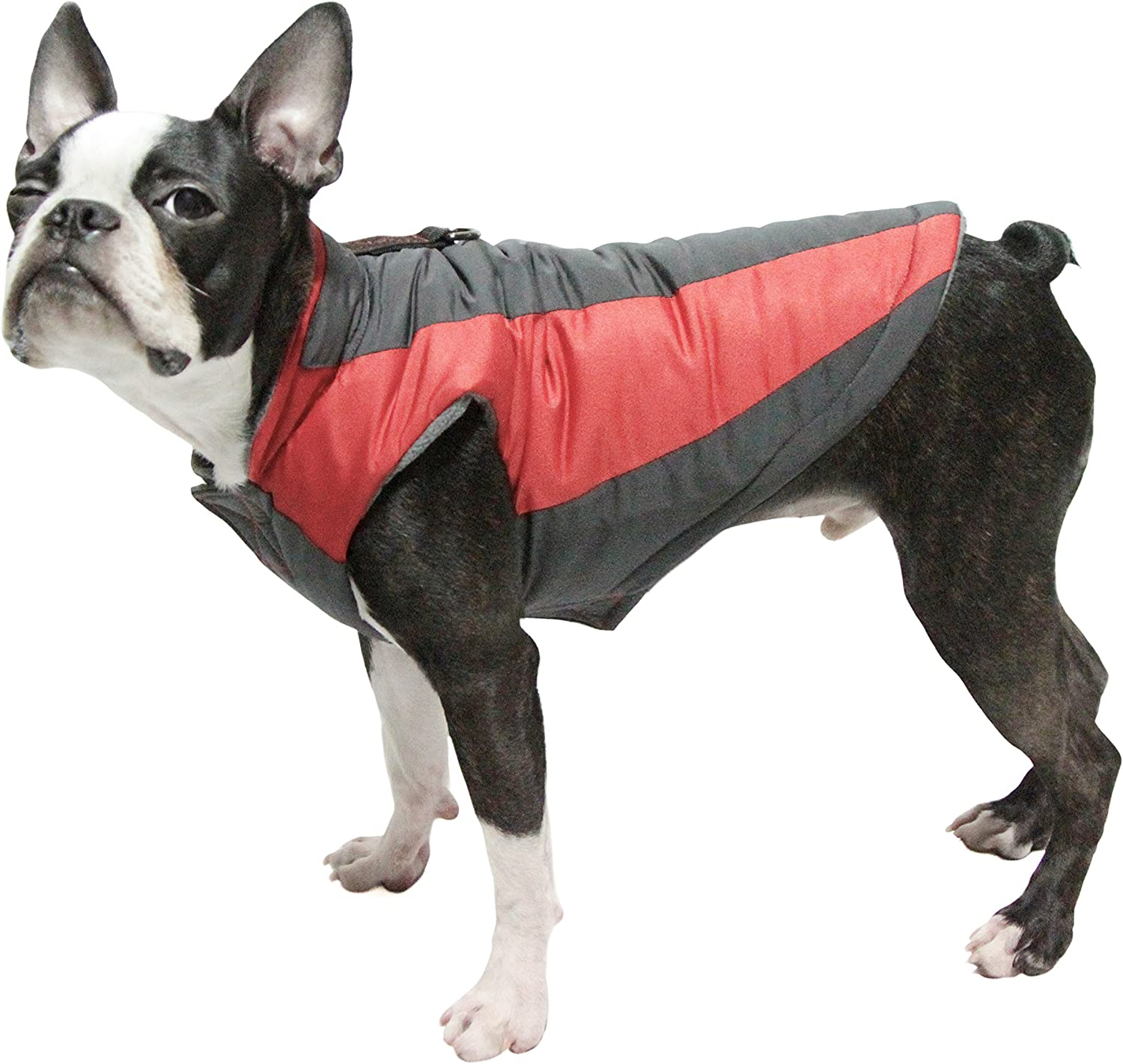 Small Dog Fleece Lined Jacket with Water Resistant Shell and Leash Ring Gooby Trekking Jacket