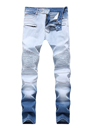 35b3253a Men's Straight Slim Fit Acid Blue Washed Biker Jeans Zipped Detail ...