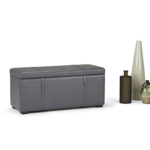 Simpli Home 3AXCOT-244-G Dorchester 41 inch Wide Transitional Rectangle 5 Pc Storage Ottoman in Stone Grey Faux Leather