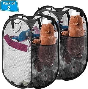 HOMEIDEAS Pack of 2 Foldable Pop-Up Mesh Laundry Hamper Basket for Dorm, Kids Room or Travel,Black
