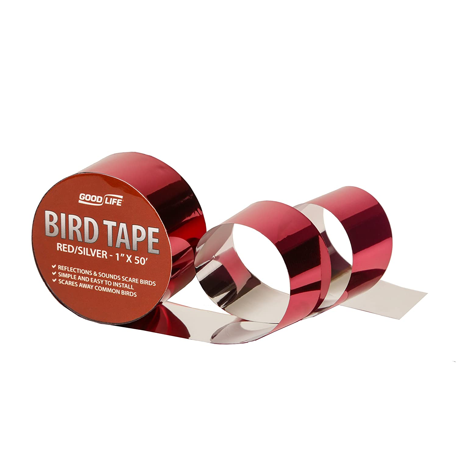 """Reflective Scare Tape: Holographic Bird Repellent Tape Safely Protects Your Property From Pest Birds (Red & Silver, 1""""x50"""