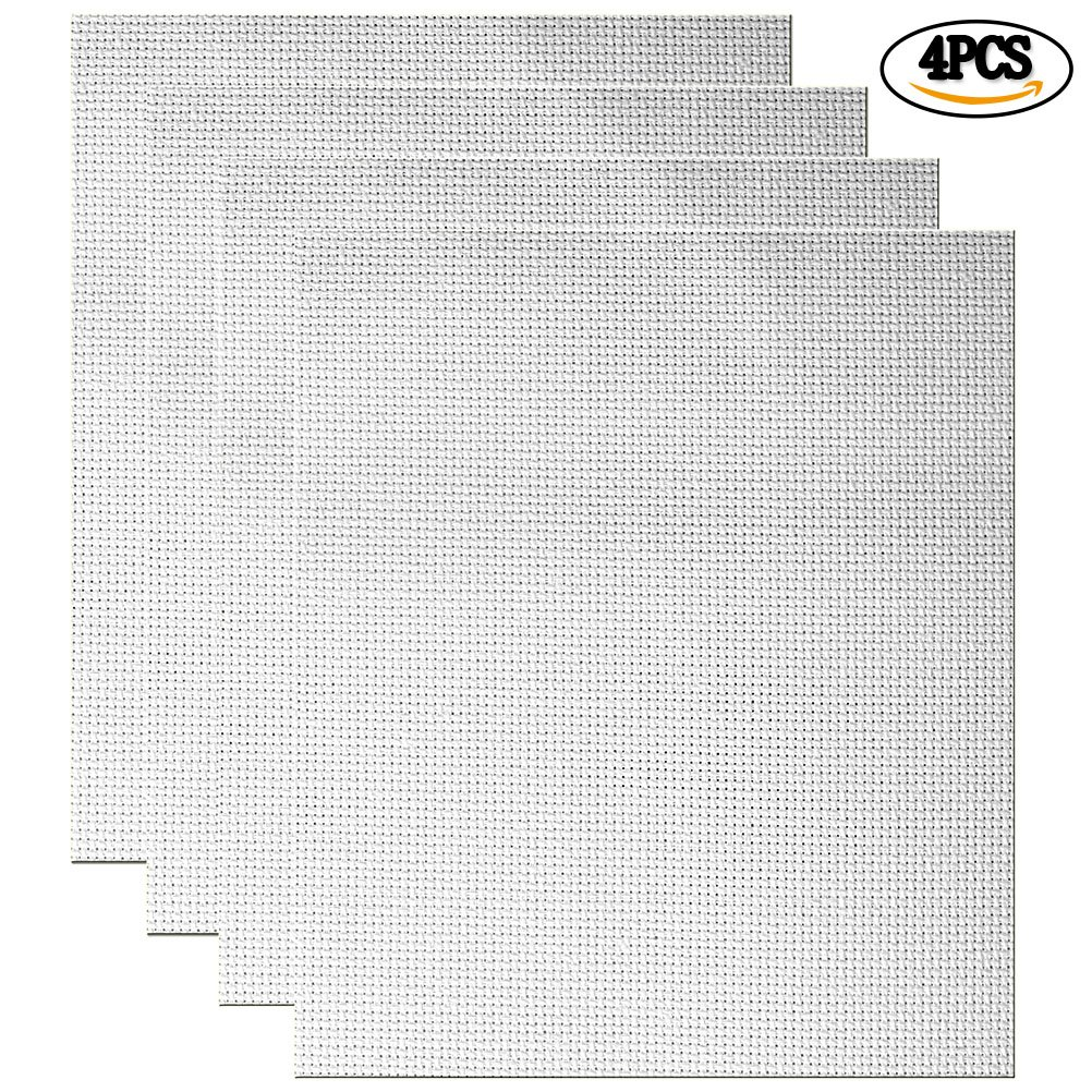 White Cleana Arts 8-Pack Cross Stitch Fabric Aida Cloth Standard Aida White 14 Count 17.7X 11.8