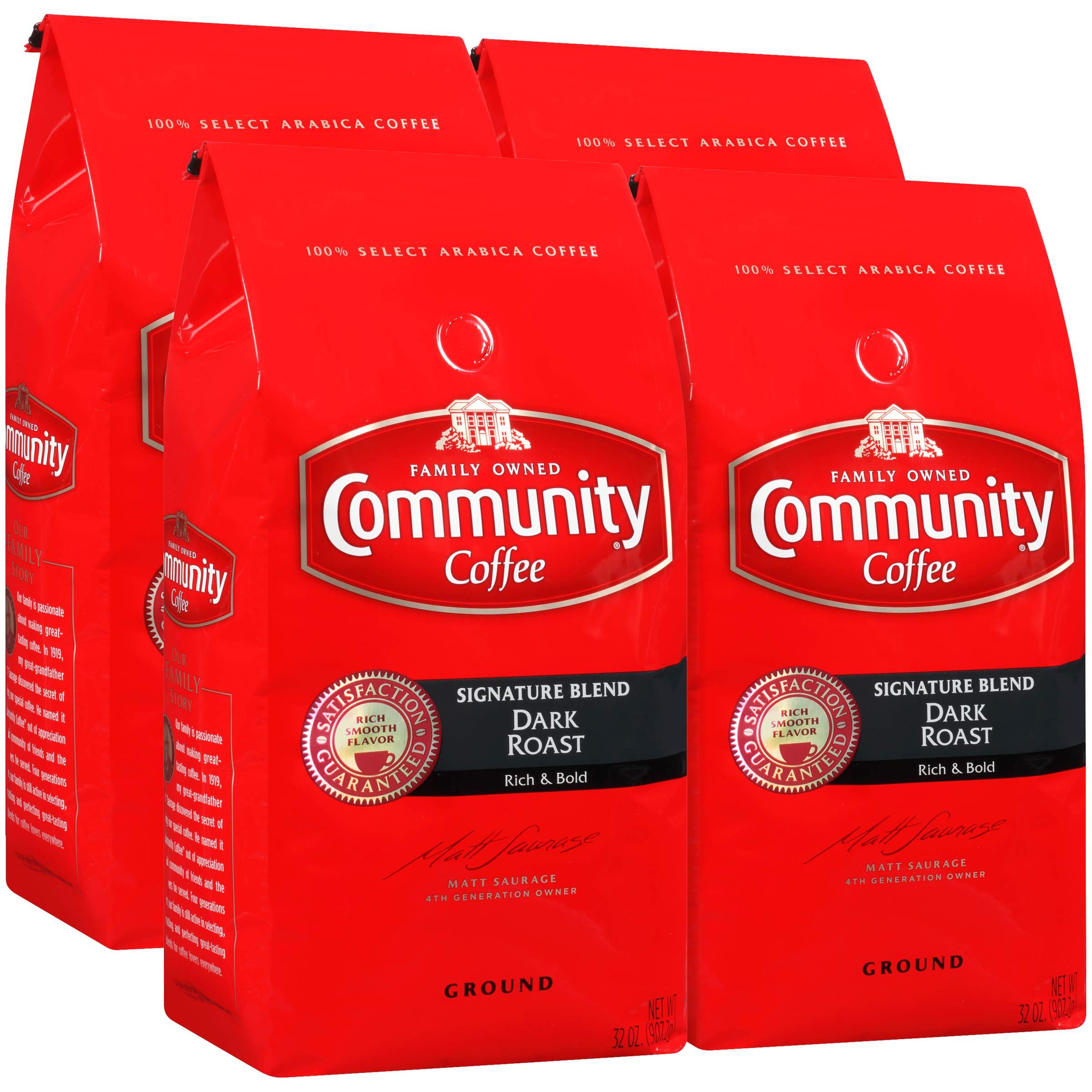 Community Coffee Signature Blend Dark Roast Premium Ground 32 Oz Bag (4 Pack), Full Body Rich Bold Taste, 100% Select Arabica Coffee Beans