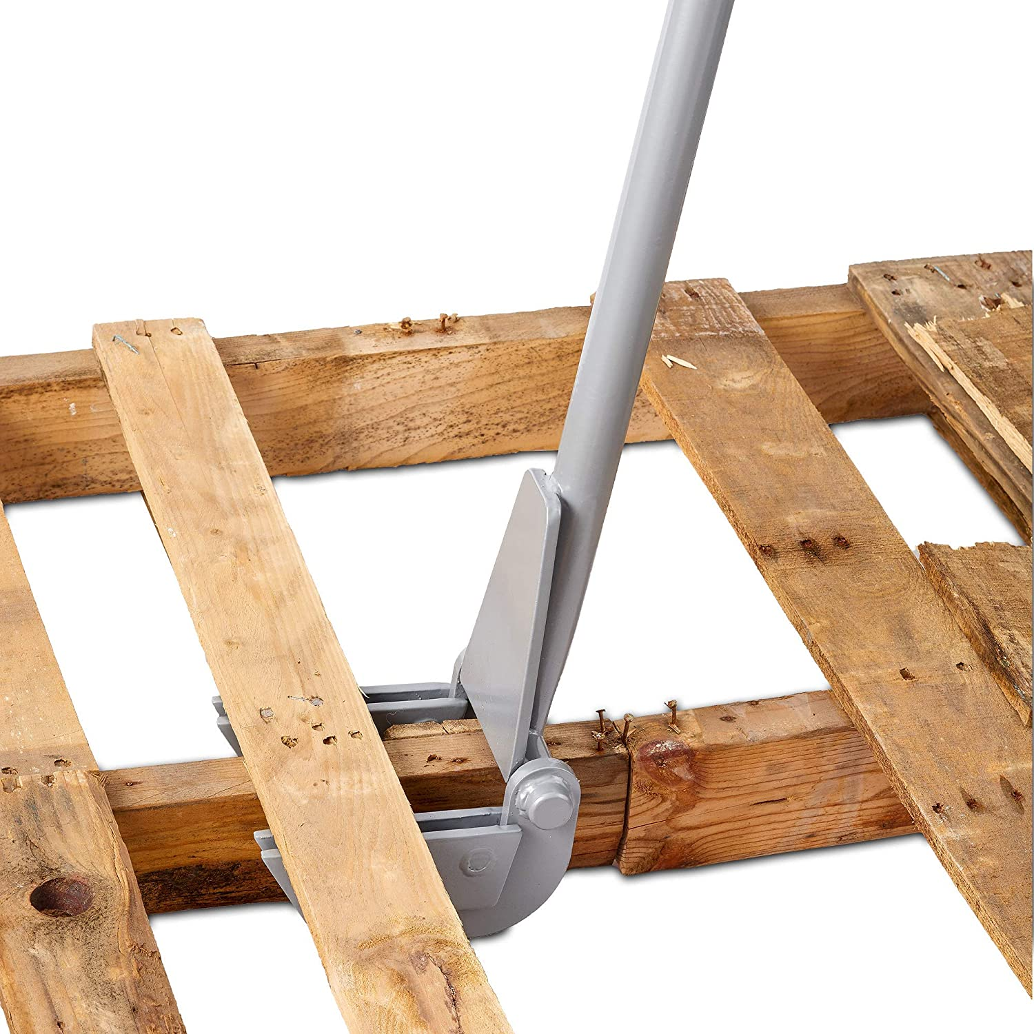 46 Steel Handle Pallet Buster Deluxe with Handle Best Wrecking Bar for Pallet Furniture and Reclaiming Boards Grey Molomax