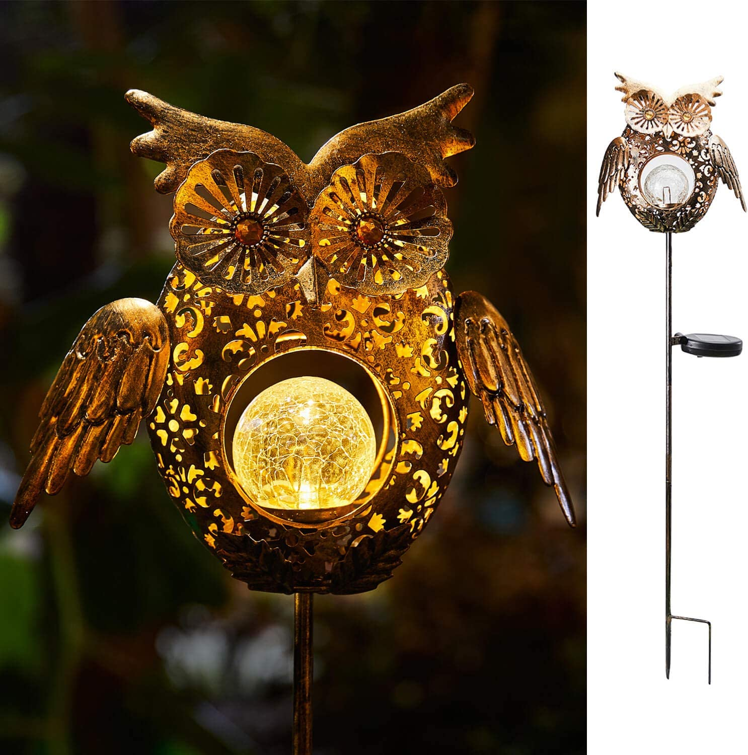 Go2garden Solar Lights Outdoor Owl Decorative Metal Stakes Lights Crackle Glass Light for Lawn, Yard Art, Pathway, Patio Decor(Bronze)