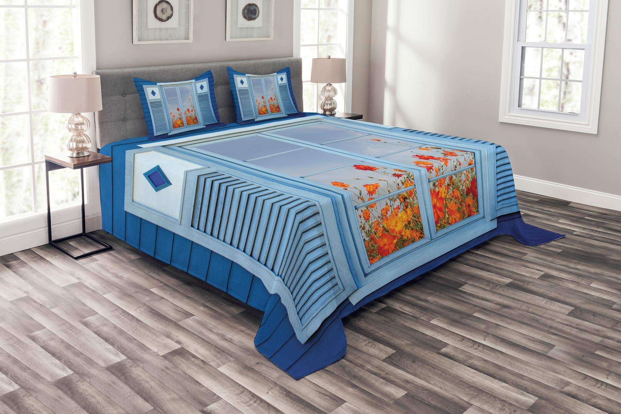 Lunarable Shutters Bedspread Set Queen Size, Cosmos Flower Blossom in Front of Wood Window Reflection Summer Garden Art, Decorative Quilted 3 Piece Coverlet Set with 2 Pillow Shams, Navy Aqua Orange