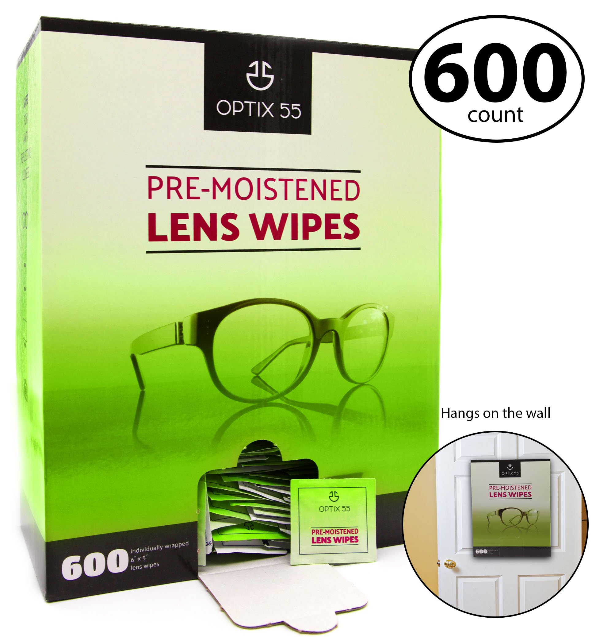 Optix 55 Pre-Moistened Lens Cleaning Wipes - 600 Cloths - Safely Cleans Glasses, Sunglasses, Camera Lenses, and Electronic Quickly and Efficiently - Travel