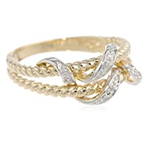 10k Yellow Gold Double Rope Diamond Ring