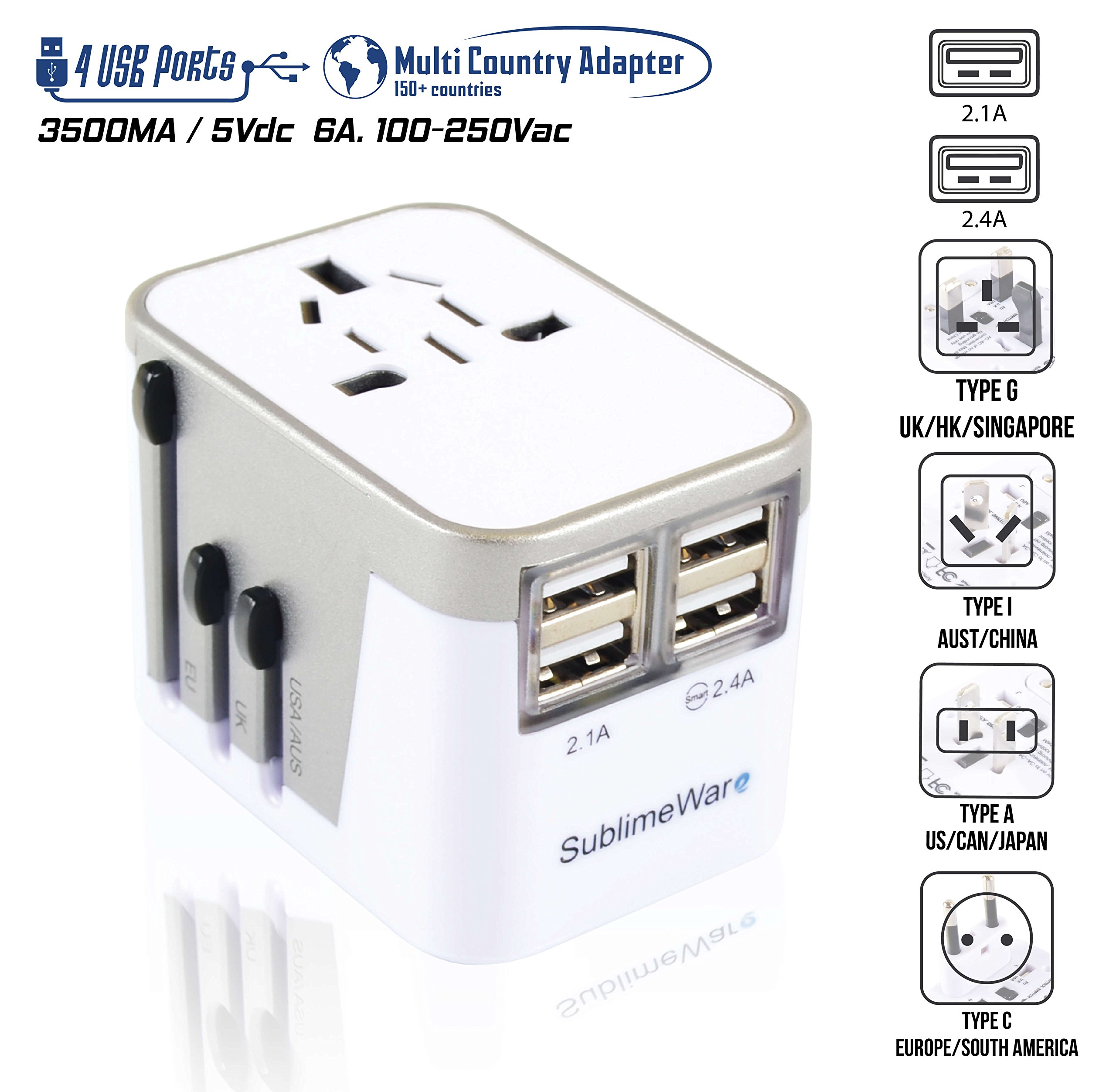 Power Plug Adapter - International Travel - w/USB Ports Work for 150+ Countries - 220 Volt Adapter - Travel Adapter Type C Type A Type G Type I f for UK Japan China EU Europe European by SublimeWare Price: $17.99