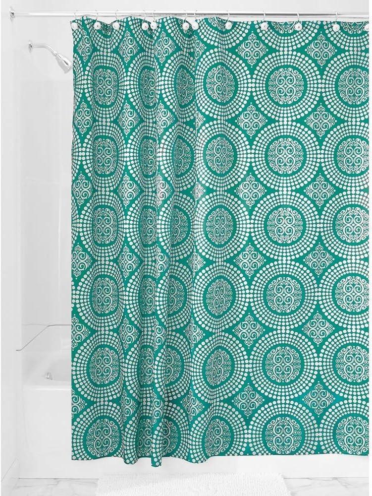 183,0 cm x 183,0 cm rideau en polyester vert /émeraude InterDesign Medallion rideau de douche tissu rideau baignoire avec ourlet du haut renforc/é