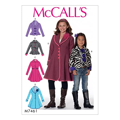 Amazon.com: McCalls M7461CCE Childrens/Girls Peter Pan Or Shawl Collar Jackets and Coats 3-4-5-6: Arts, Crafts & Sewing